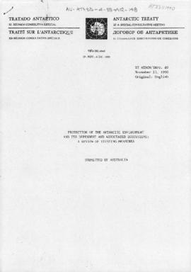 Eleventh Special Antarctic Treaty Consultative Meeting, information papers (XI ATSCM/INFO 40, 41, 45, 54) (submitted by Australia, Norway, CCAMLR and Chile)