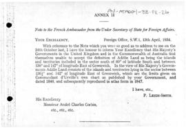 British note to France proposing 136½°E and 142°E longitude as the limits of Adélie Land