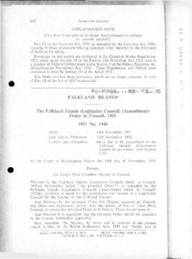 Falkland Islands (Legislative Council) (Amendment) Order in Council, no 1946 of 1951