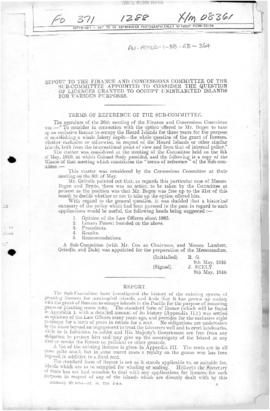 Colonial Office Report to Finance and Concessions Committee regarding licenses granted to uninhabited islands