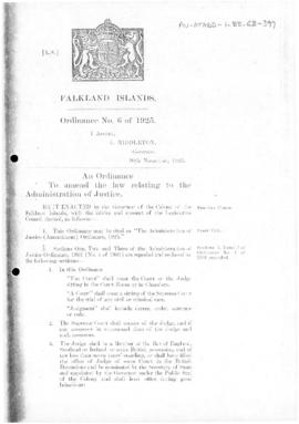 Falklands Islands, Administration of Justice (Amendment) Ordinance, no 6 of 1925
