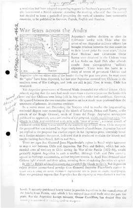 "Press article ""War fears across the Andes"" Foreign Report"