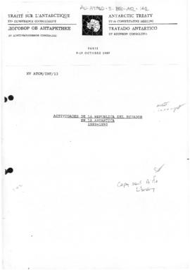 "Fifteenth Antarctic Treaty Consultative Meeting, Paris, Information paper 13 ""Actividades de..."