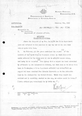Memorandum reporting claims made by Ellsworth for the United States