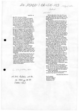 Argentine letter to the US Secretary of State Alexander Haig concerning the Falklands/Malvinas dispute
