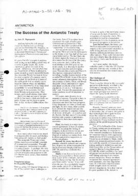 "US Department of State, Bulletin, ""The Success of the Antarctic Treaty"""