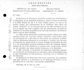 Chilean note to the United Kingdom asserting Chilean claims in response to British place in the F...