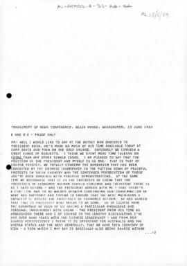 Australia, Prime Minister Bob Hawke, Transcript of News Conference, Blair House, Washington, Unit...