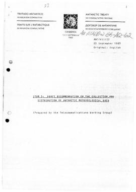 Twelfth Antarctic Treaty Consultative Meeting, Canberra, September 1983, various meeting documents