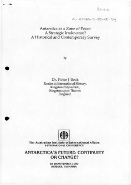 "Beck, Peter ""Antarctica as a zone of peace: a strategic irrelevance? A historical and contem..."