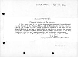 British Commission for Sir Hubert Wilkins to claim territory between the Falkland Islands Depende...
