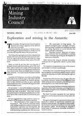 "Australian Mining Industry Council ""Exploration and mining in the Antarctic"" Mining issues"