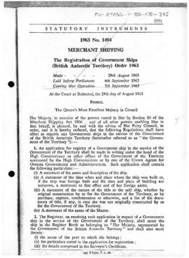 United Kingdom, Merchant Shipping, Registration of Government Ships (British Antarctic Territory) Order, no 1494 of 1963
