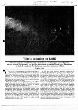"Press article ""Who's counting on krill?"" New Scientist"