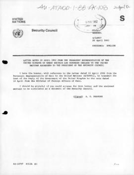 United Nations Security Council and General concerning the Falklands/Malvinas dispute, April-May 1982