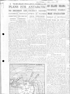 Press articles concerning US expedition in Antarctica