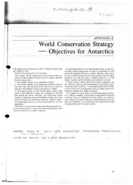 World Conservation Strategy - Objectives for Antarctica
