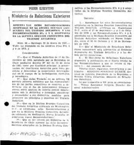 Chile, Decree no. 90 approving recommendations from the tenth and seventh Antarctic Treaty Consul...