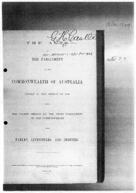 Australia, Seat of Government Acceptance Act 1909