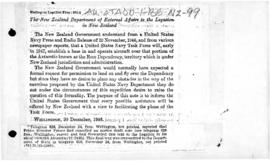 New Zealand note to the United States on the operation of the US Navy Task Force in the Ross Dependency