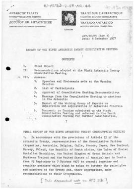 Antarctic Treaty, Report of the Ninth Antarctic Treaty Consultative Meeting, London 1977