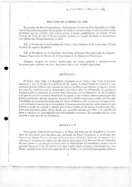 Article 111 of the Boundary Treaty between the Argentine Republic and the Republic of Chile, Buenos Aires, 23 July 1881