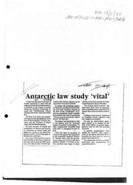 """Antarctic law study 'vital"" Canberra Times"