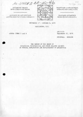 "Tenth Antarctic Treaty Consultative Meeting (Washington), Working paper 20 ""The report of th..."