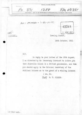 United Kingdom, Colonial Office letter concerning British title to Joinville Island