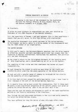 "Australia, Foreign Minister Bill Hayden ""Foreign Minister's UN speech"", Department of F..."