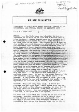 Australia, Prime Minister Bob Hawke, transcript of debate with Andrew Peacock, Leader of the Opposition, Sydney