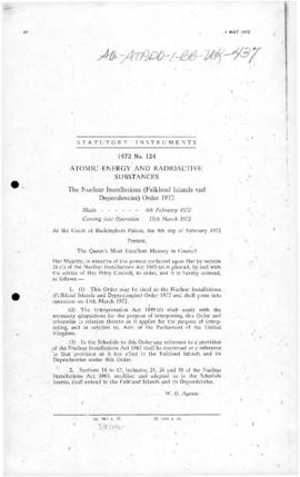United Kingdom, Nuclear Installations (Falkland Islands and Dependencies) Order 1972