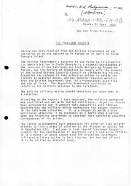 "Australia, Prime Minister, ""The Falklands dispute"" Backgrounder"