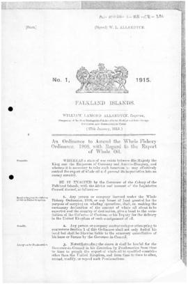 Falkland Islands, Whale Oil (War) Ordinance, no 1 of 1915