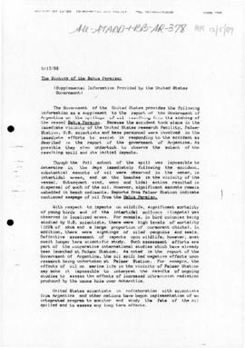 Argentina, US report on the sinking of the Bahia Paraiso