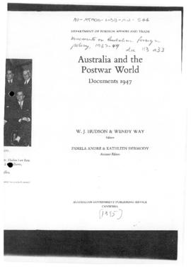Australia and the Postwar World, Documents 1947