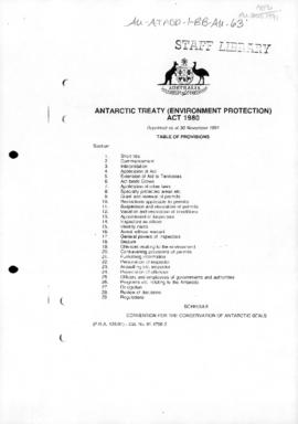 Australia Statute Law, Antarctic Treaty (Environment Protection) Act 1980