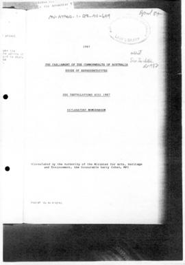 Australia, Sea Installations Bill 1987, Explanatory Memorandum