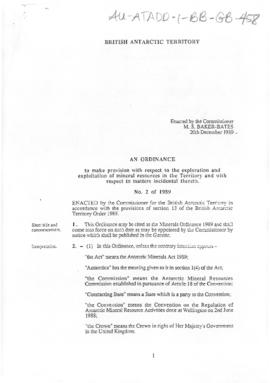 British Antarctic Territory, various Ordinances 1989 to 1993
