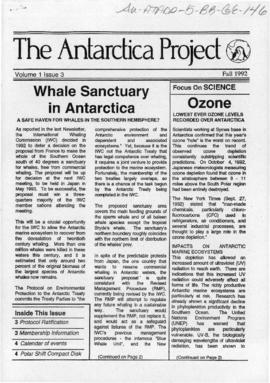"Environment campaign newsletters, ""Whale sanctuary in Antarctica"" and ""Antarctic Treaty meeting results"" The Antarctica Project Vol 1 (3) and Vol 2 (1)"