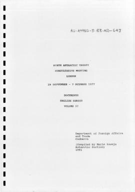 Ninth Antarctic Treaty Consultative Meeting (London), documents, English series volume II