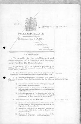 United Kingdom, Dependencies Research and Development Fund Ordinance, 1924