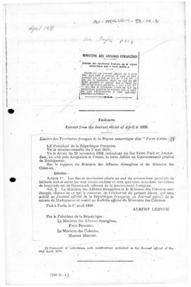 Decree defining the limits of Adélie Land