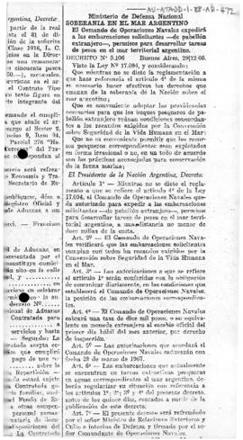 Argentina, Decree no. 5,106 concerning fishing permits in Argentine territorial waters.