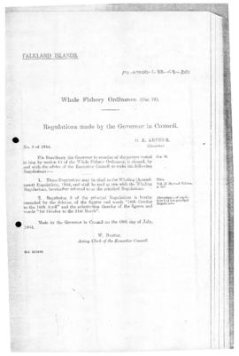 Falkland Island, Whale Fishery Ordinance, Whaling (Amendment) Regulations, no 3 of 1954