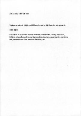 Various academic articles 1980s to 1990s collected by Bill Bush for his research