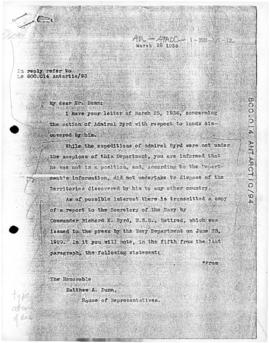 United States, Letter from Secretary of State Cordell Hull concerning claims made by Admiral Byrd