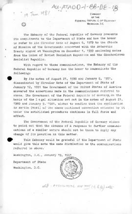 Federal Republic of Germany note concerning the application of the Antarctic Treaty to West Berlin