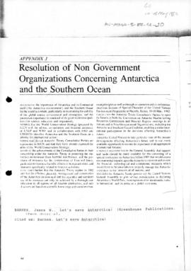 Resolution of Non Government Organizations Concerning Antarctica and the Southern Ocean (from Barnes, James N., Let's save Antarctica!, Greenhouse Publications)