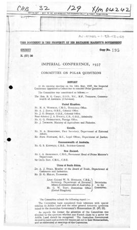 Imperial Conference 1937, Committee on Polar Questions report